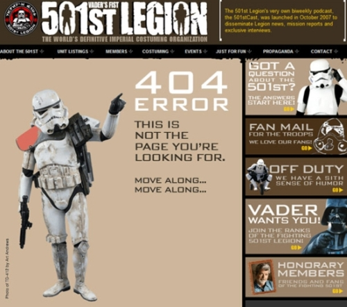 Brand Personality of the 501st Legion Error Page