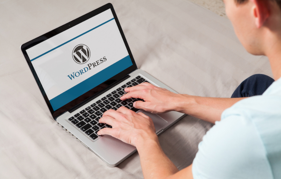 Male using wordpress on laptop