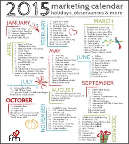 Plan Next Year S Content Using This 2015 Marketing Calendar