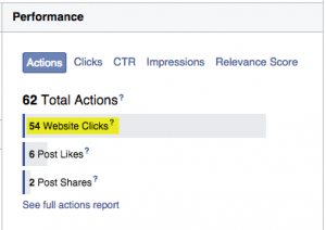 Facebook ad performance example