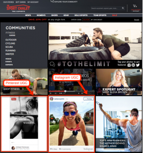 User generated content marketing example - The Sport Chalet community.