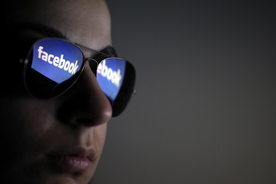 Facebook logo reflection in sunglasses