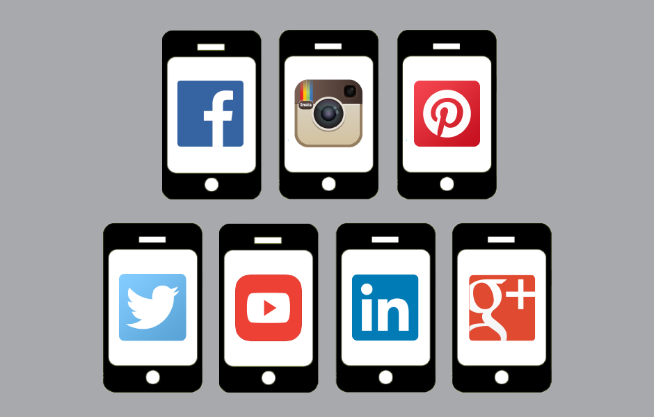 iphones with social media platform icons