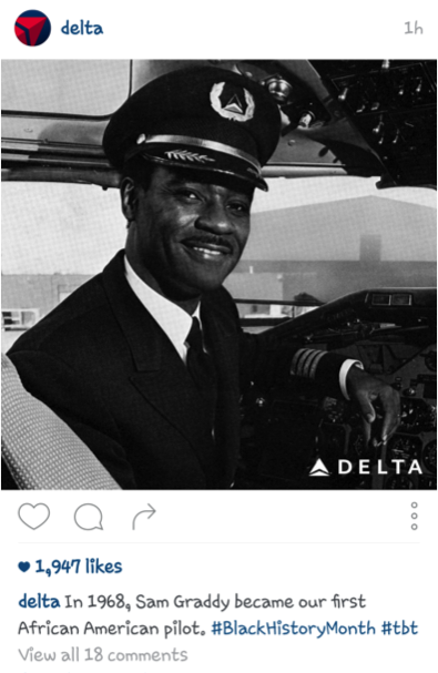 Delta Airlines Instagram Black History Month