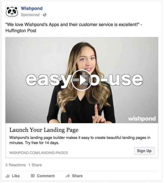 Wishpond Facebook Video Ad
