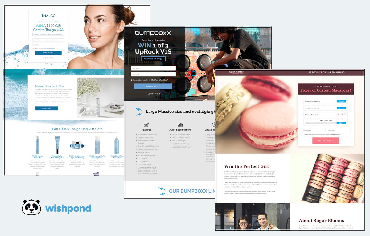 Wishpond contest example - beauty recipes food CPG lifestyle